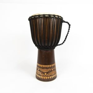 A compact full-sized djembe, the Classic features a voice and range comparable to a larger drum. Available in light or dark finish.