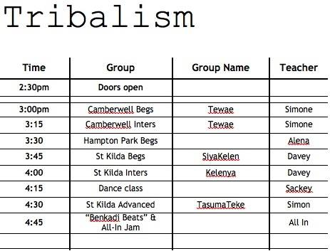 tribalism timetable