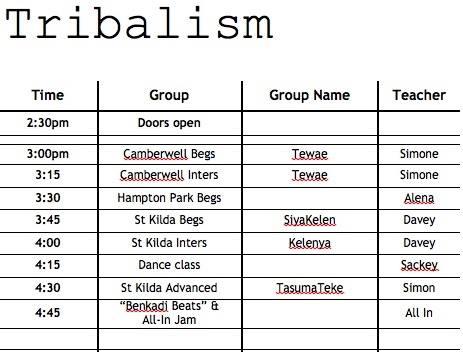 tribalism timetable