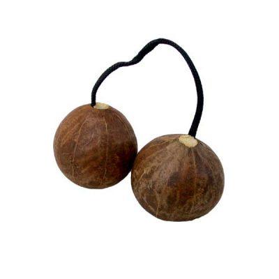 aslatua double gourd shaker from ghana, traditional instrument also known as asalato, kashaka, cascas, televi, kasso-kassoni