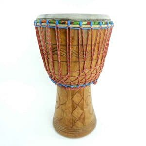 Ghana djembe from hardwood, African drum made from natural materials