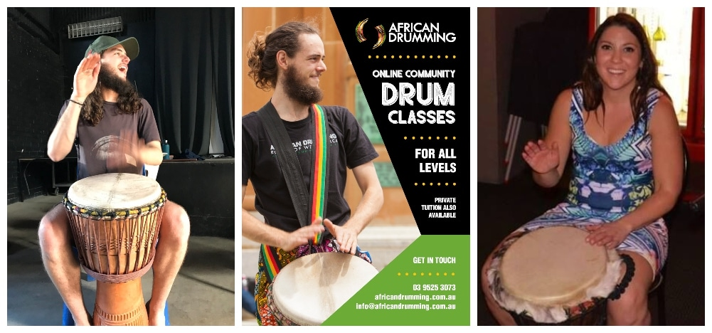 community classes, djembe, drumming, online classes