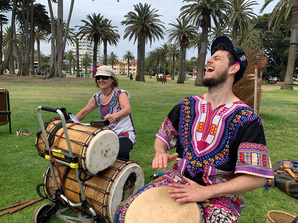 Djembe classes at St Kilda, led by Magic Mike. Beginner and intermediate classes available.