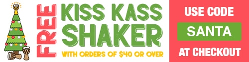 Free kiss kass shaker with every online spend of $40 and over!